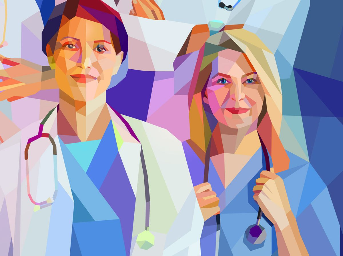 low poly digital illustration doctor by charis tsevis