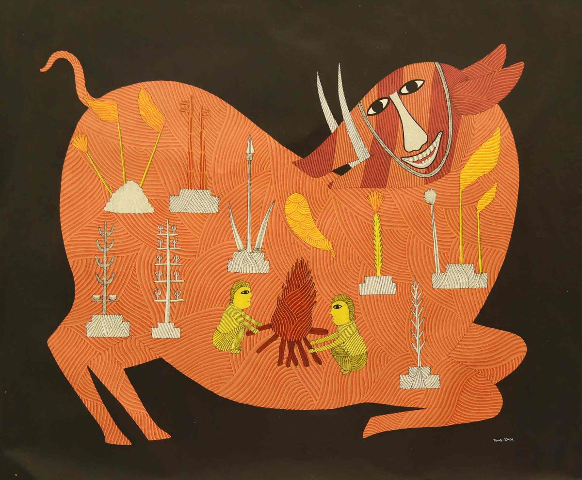 traditional gond painting cow