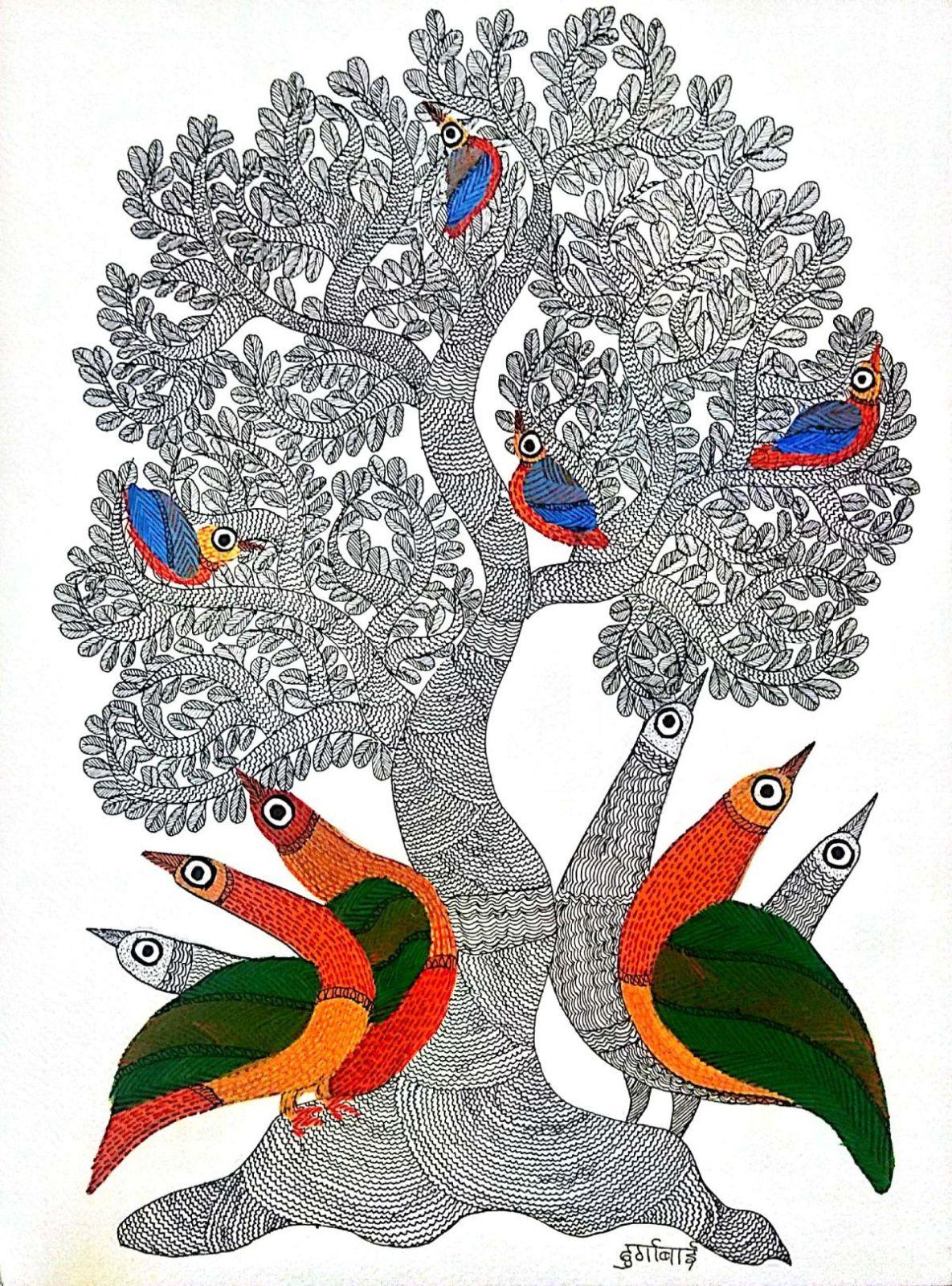 incredible madhya pradesh gond painting tree birds