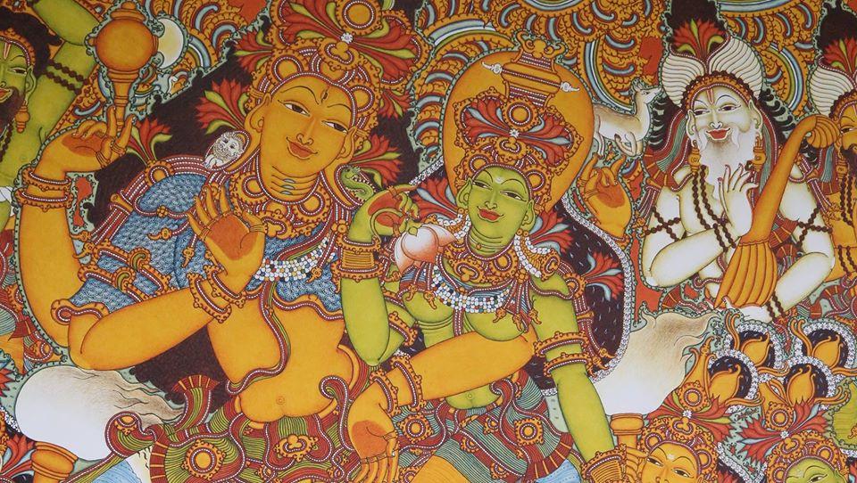 kerala painting god by sasi edavarad
