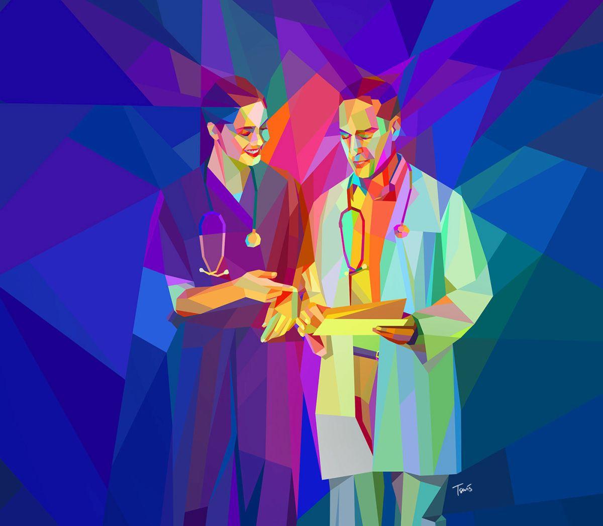 low poly digital illustration doctor