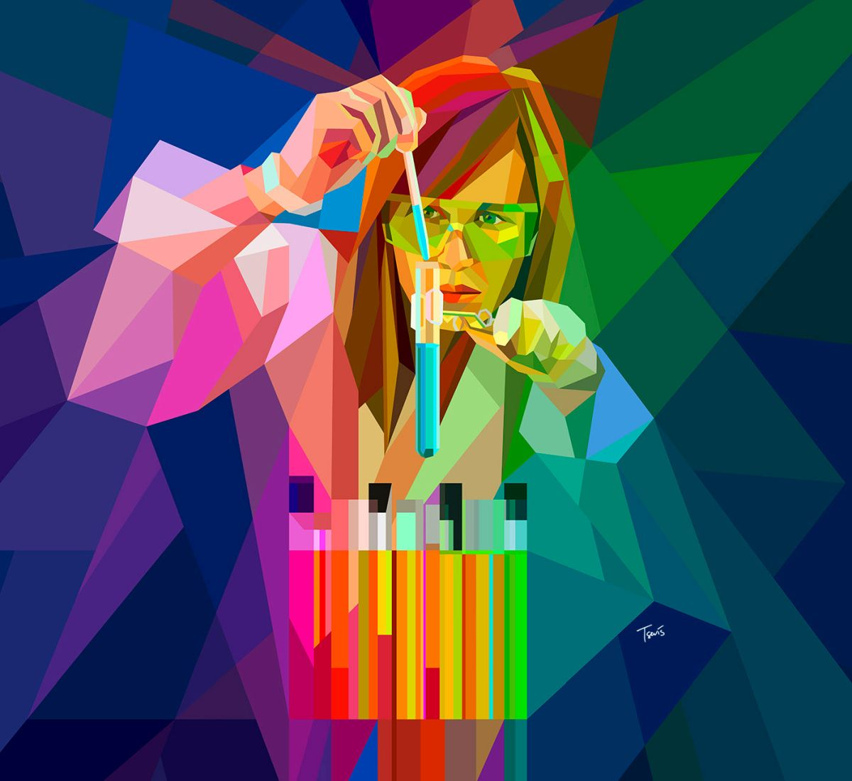 low poly digital illustration scientist by charis tsevis