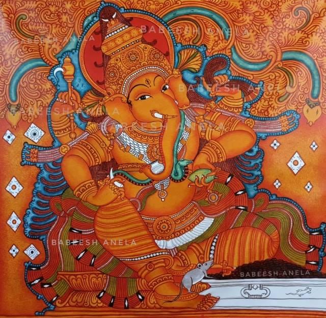 kerala painting ganesh by babeesh anela