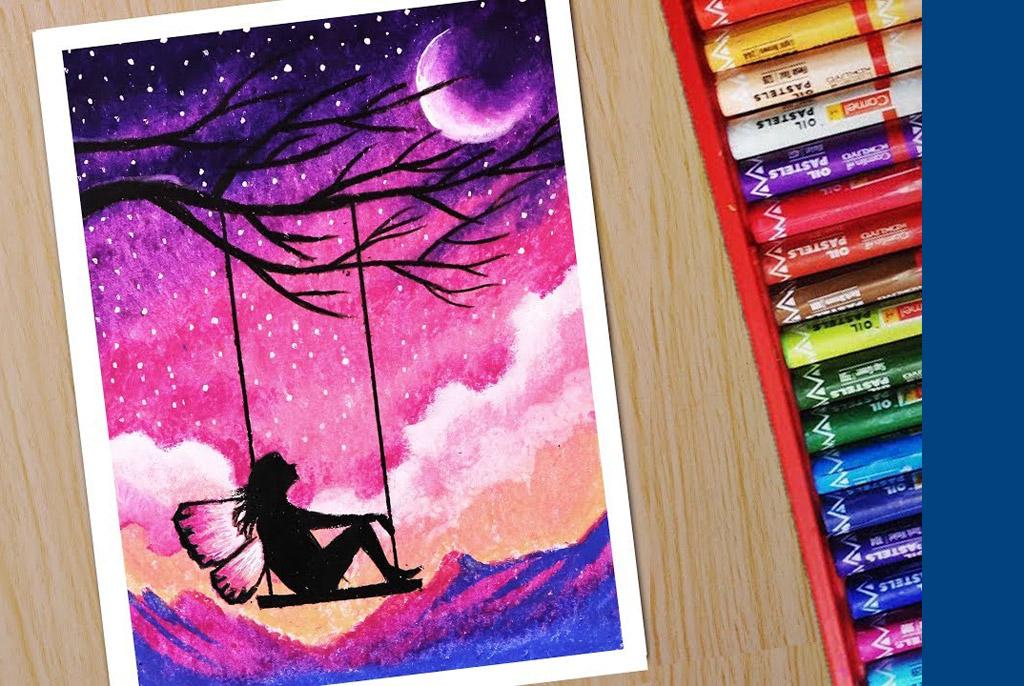 pastel drawing sky cloud by shiba basan