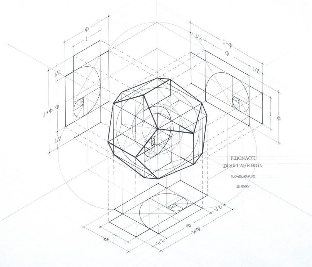 geometric drawing of fibonacci dodecahedron
