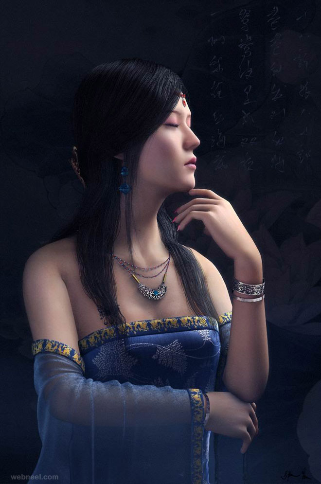 chinese woman 3d character by zhang chen