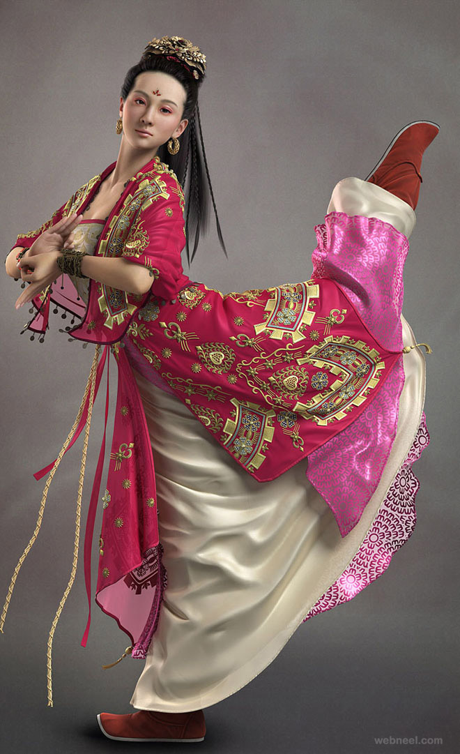 3d chinese woman character