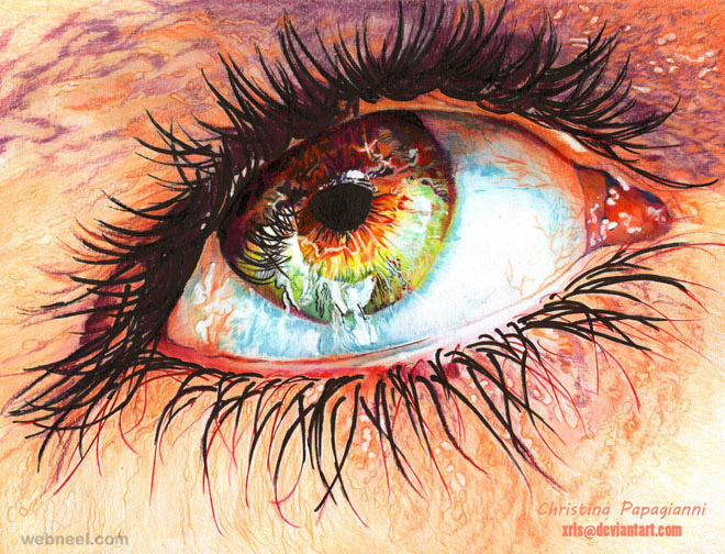 eye hyper realistic color pencil drawing by christina papagianni