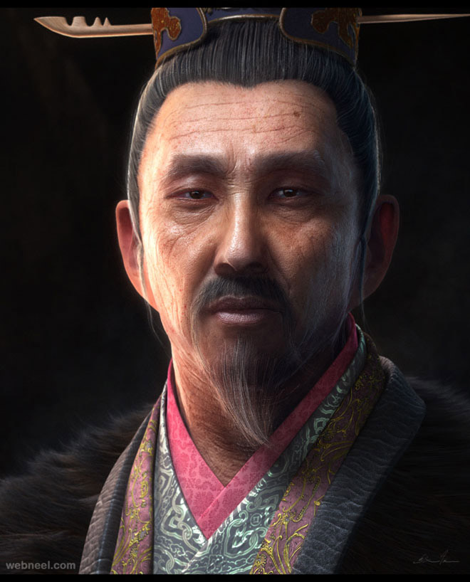 chinese oldman 3d character by zhang chen