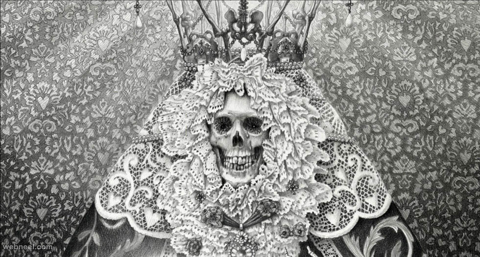 skull surreal drawing by laurie lipton