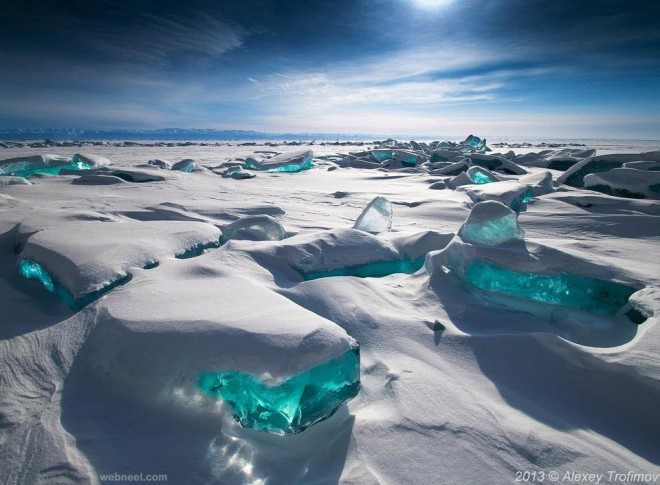 emerald colored ice of lake baikal