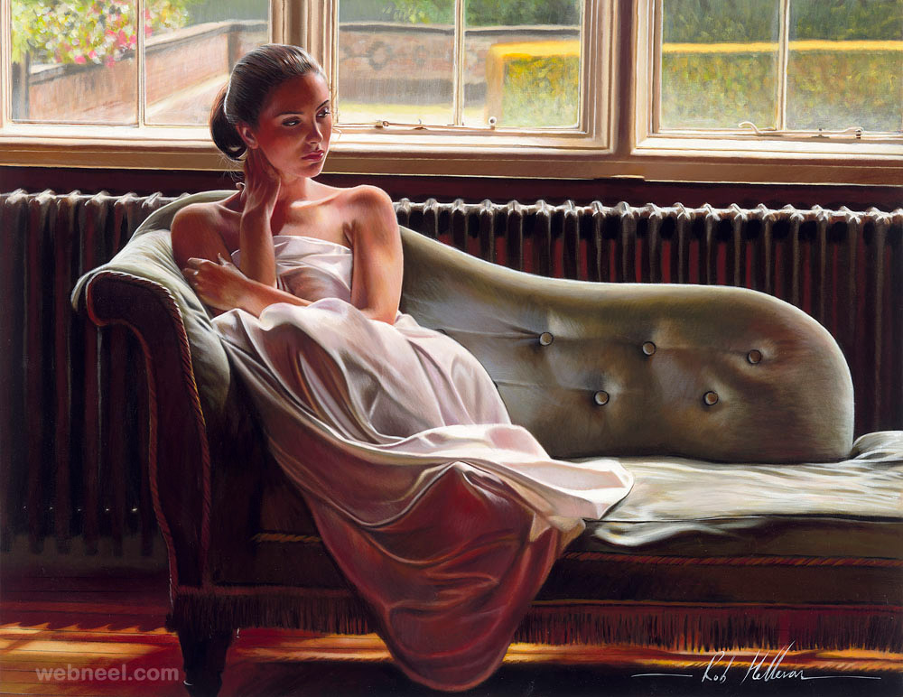 oil painting woman by rob hefferan