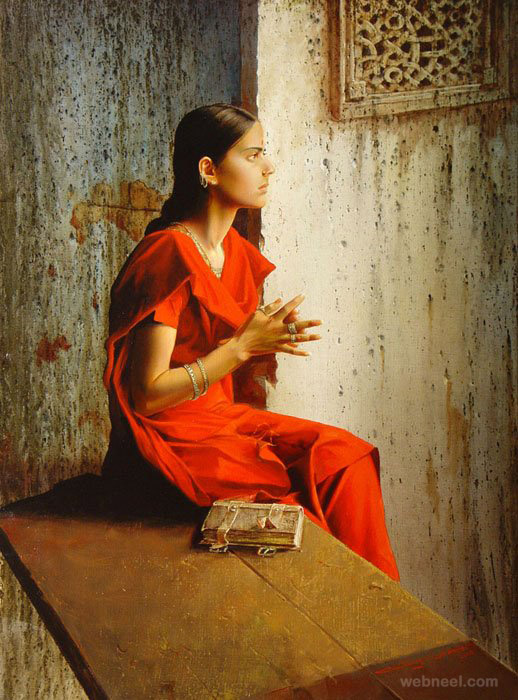oil painting indian girl