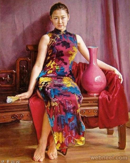 oil painting chinese by guan zeju