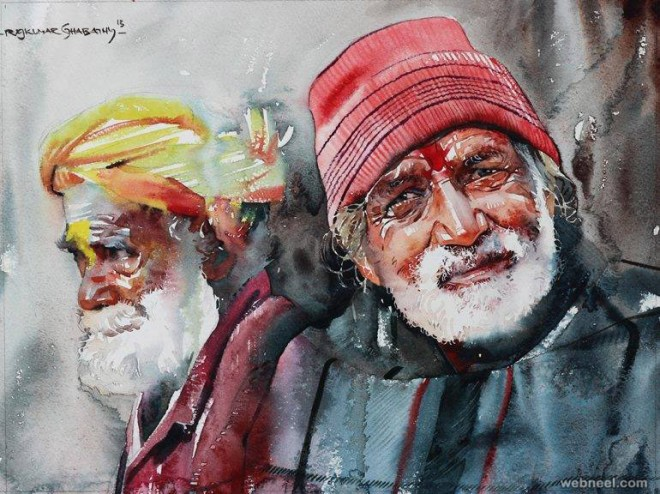 kumbh mela watercolor painting by sthabathy