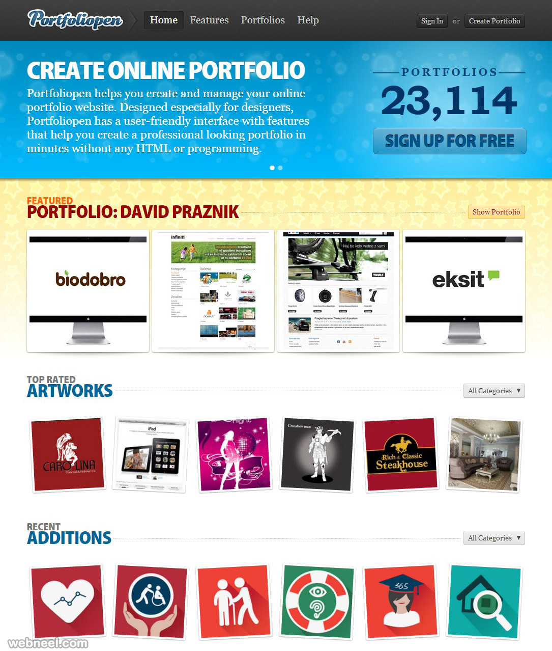 free websites portfoliopen