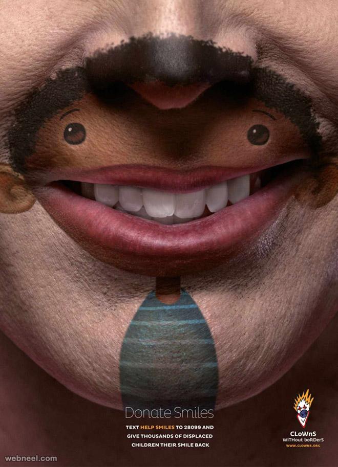 smile clown ad creative advertisement