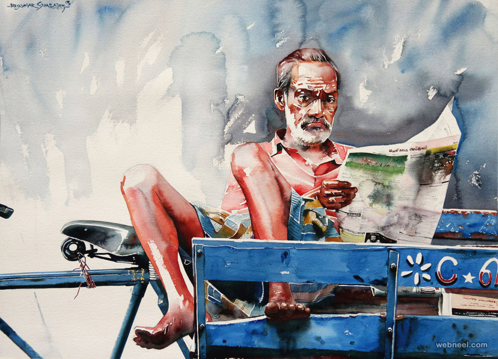rickshaw watercolor painting