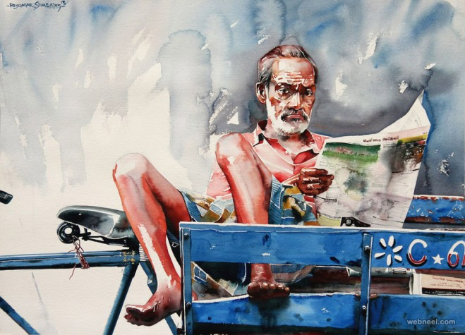 rickshaw watercolor painting by sthabathy