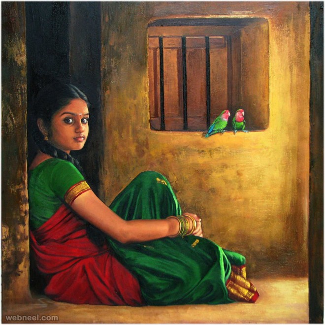realistic tamil woman indian painting by ilayaraja