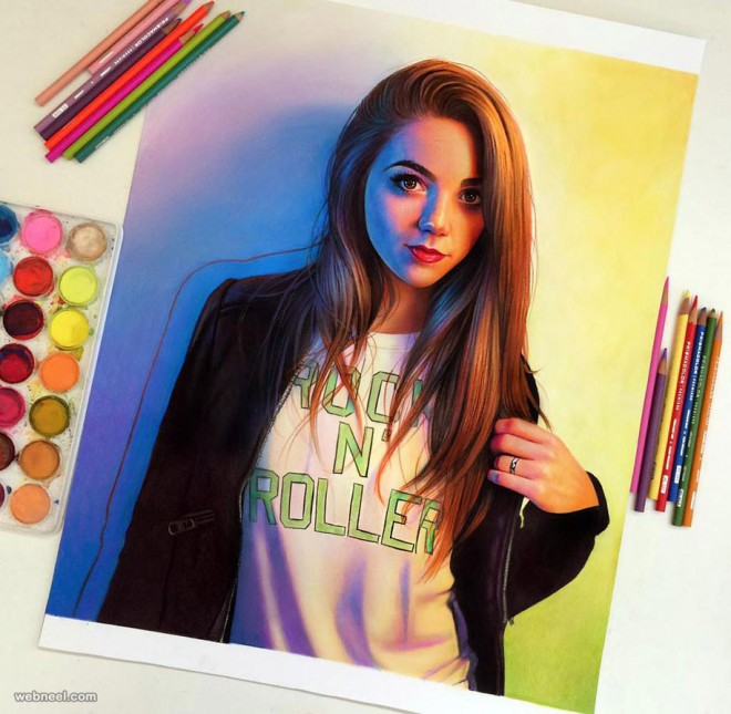 girl color pencil drawing by morgan davidson