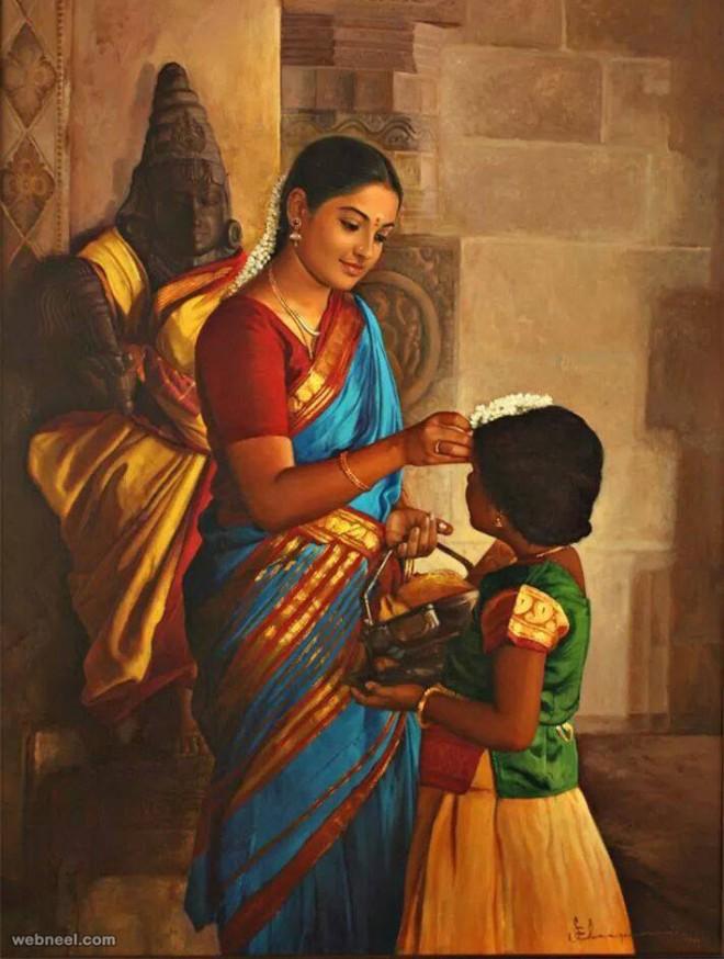 realistic tamil woman painting by ilayaraja