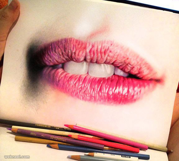 lips color pencil drawing