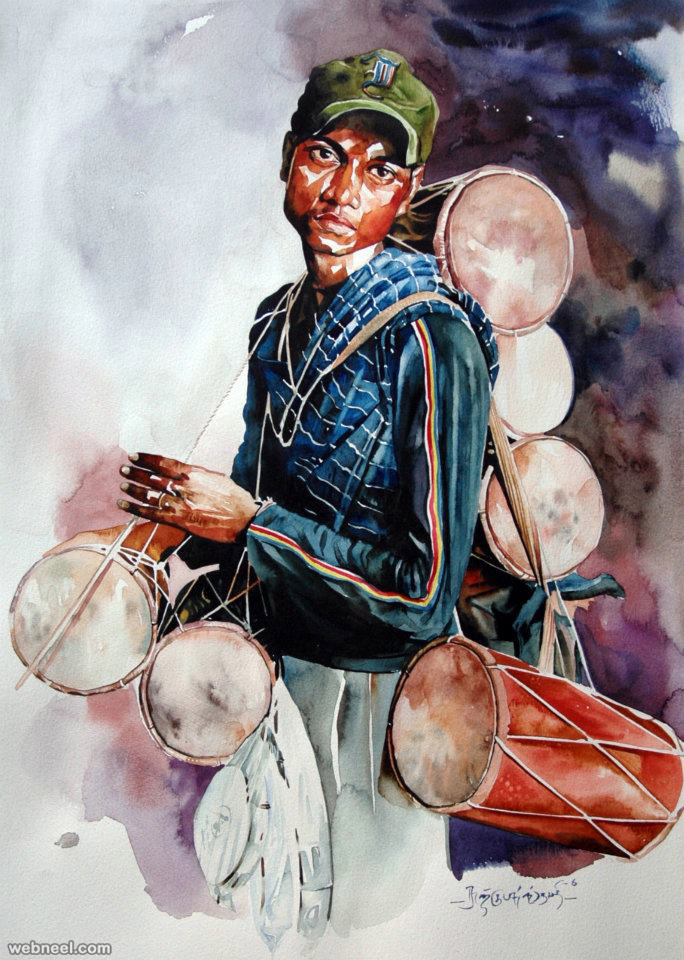 indian watercolor painting