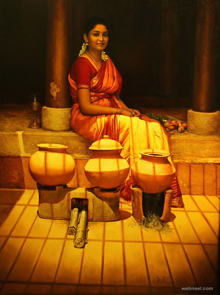 realistic tamil woman painting by ilayaraja