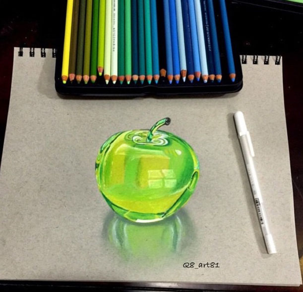 colourful apple pencil drawing by khaled alnajar