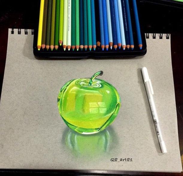 Colourful Apple Pencil Drawing By Khaled Alnajar