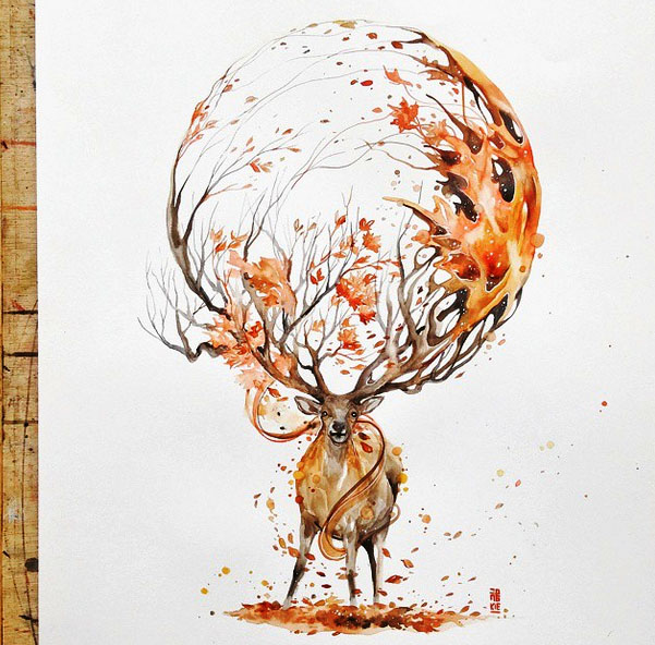 deer painting by luqmanreza