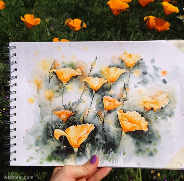 flower watercolor paintings by elena