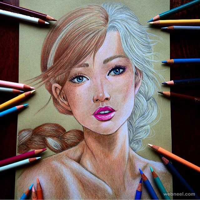 girl color pencil drawing by dada16808