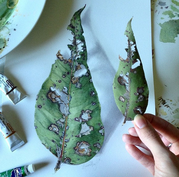 leaf realistic painting by lauren may sahu khan