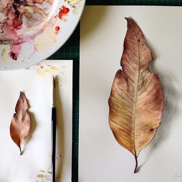 realistic leaf painting by laurenmaysk