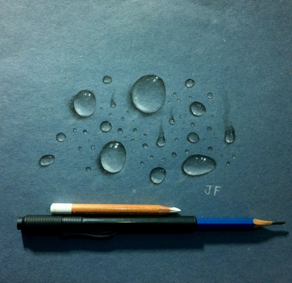 realistic water drops drawing by juliano ferreira