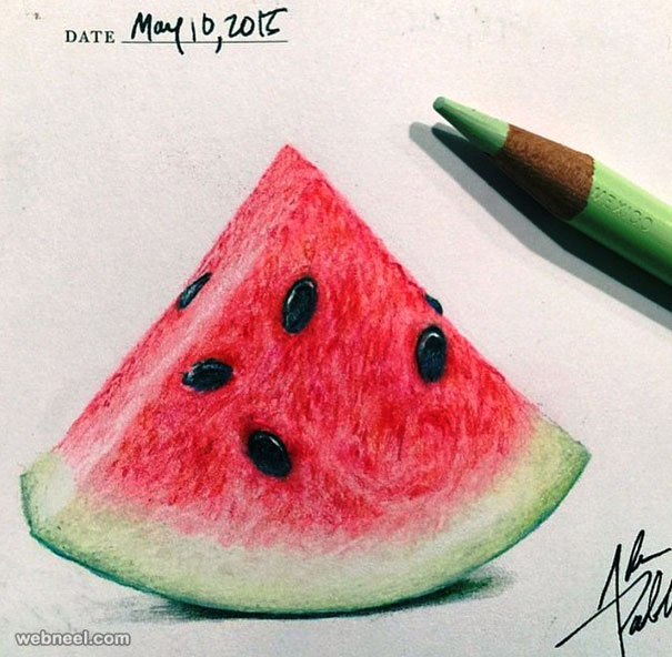 water melon color pencil drawing by adampadilla