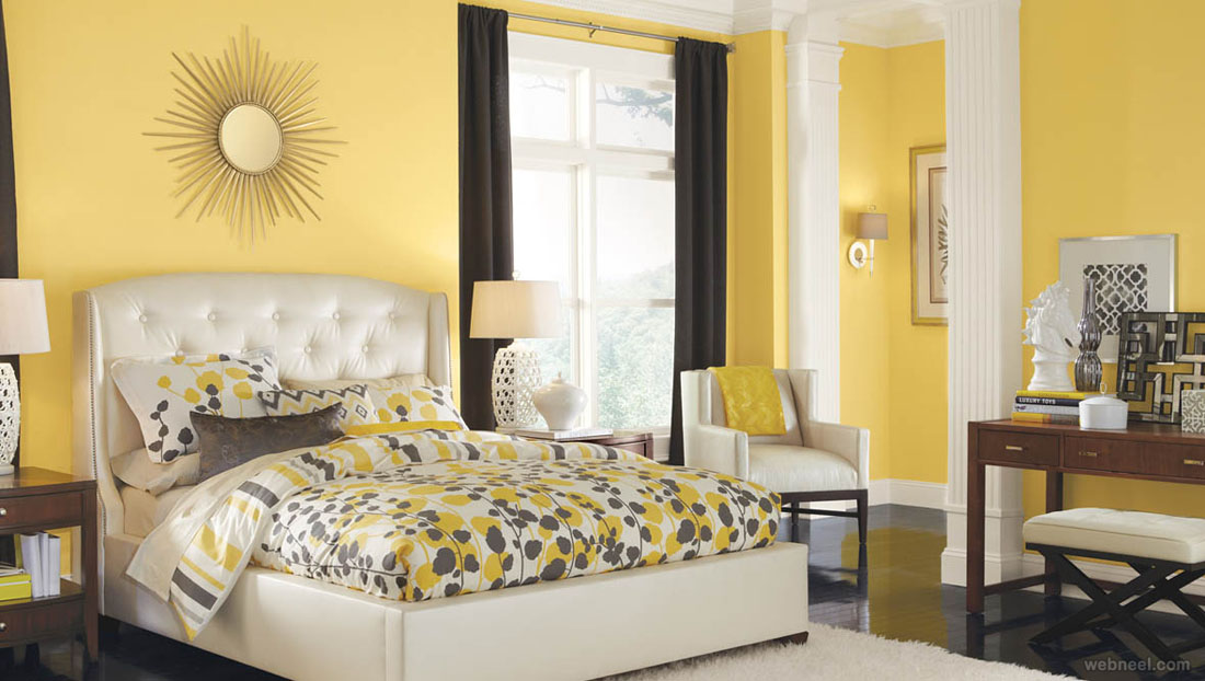 Yellow White Bedroom Color Schemes 12 - Full Image