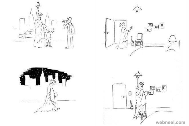 statue of liberty funny drawings