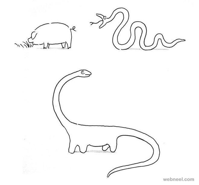dinosaur funny drawings by shanghai tango
