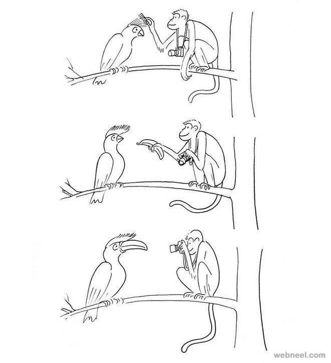 monkey funny drawings