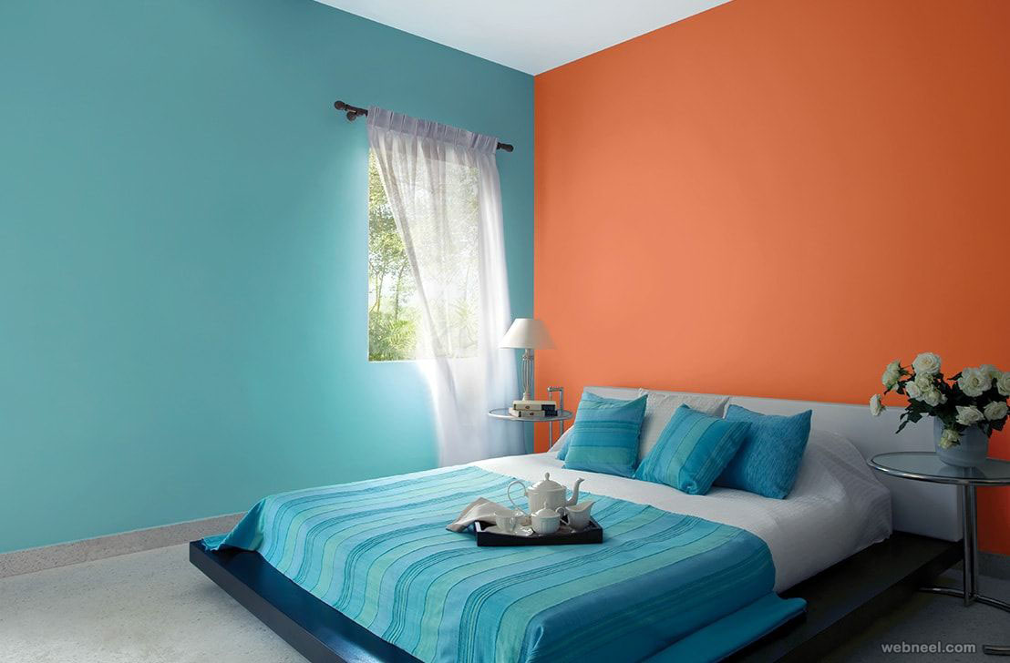 Orange Blue Bedroom Colour Ideas 6 - Full Image