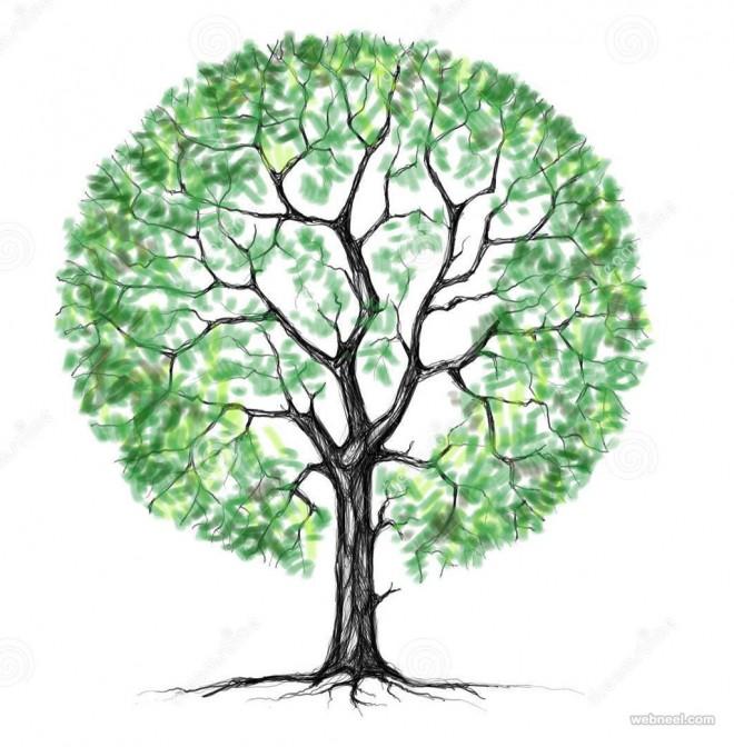 tree drawing by serhii liakhevych