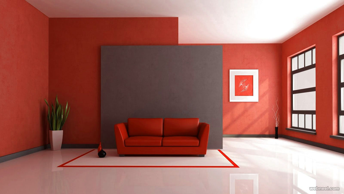 red white paint ideas for living room
