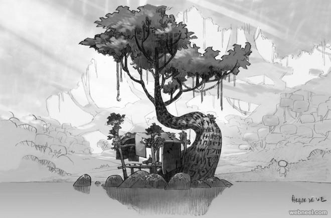 tree drawings by mondocanard