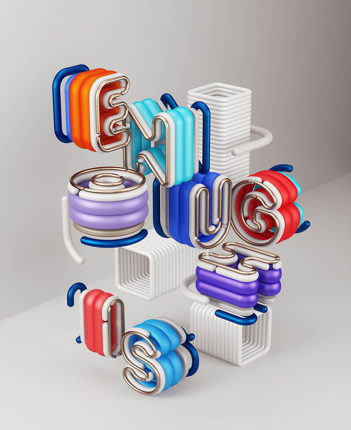 3d typography design enough by omanaquil
