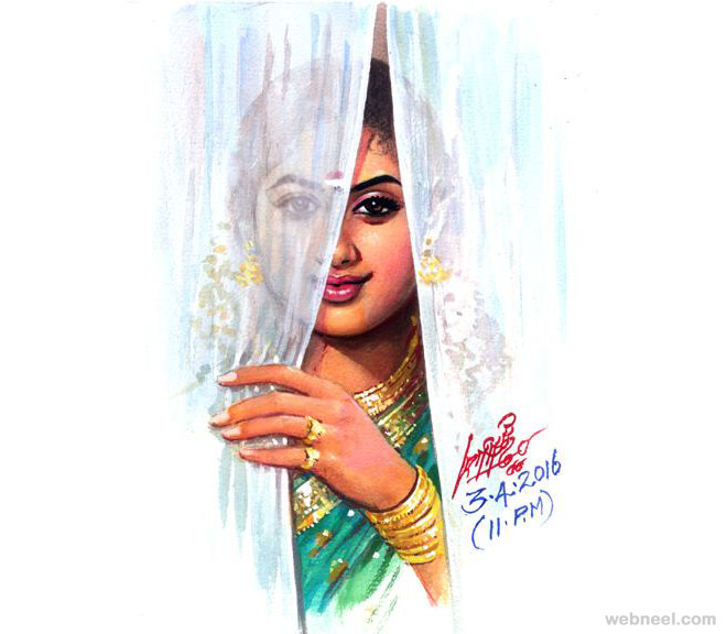painting artwork tamil nadu woman by maruthi