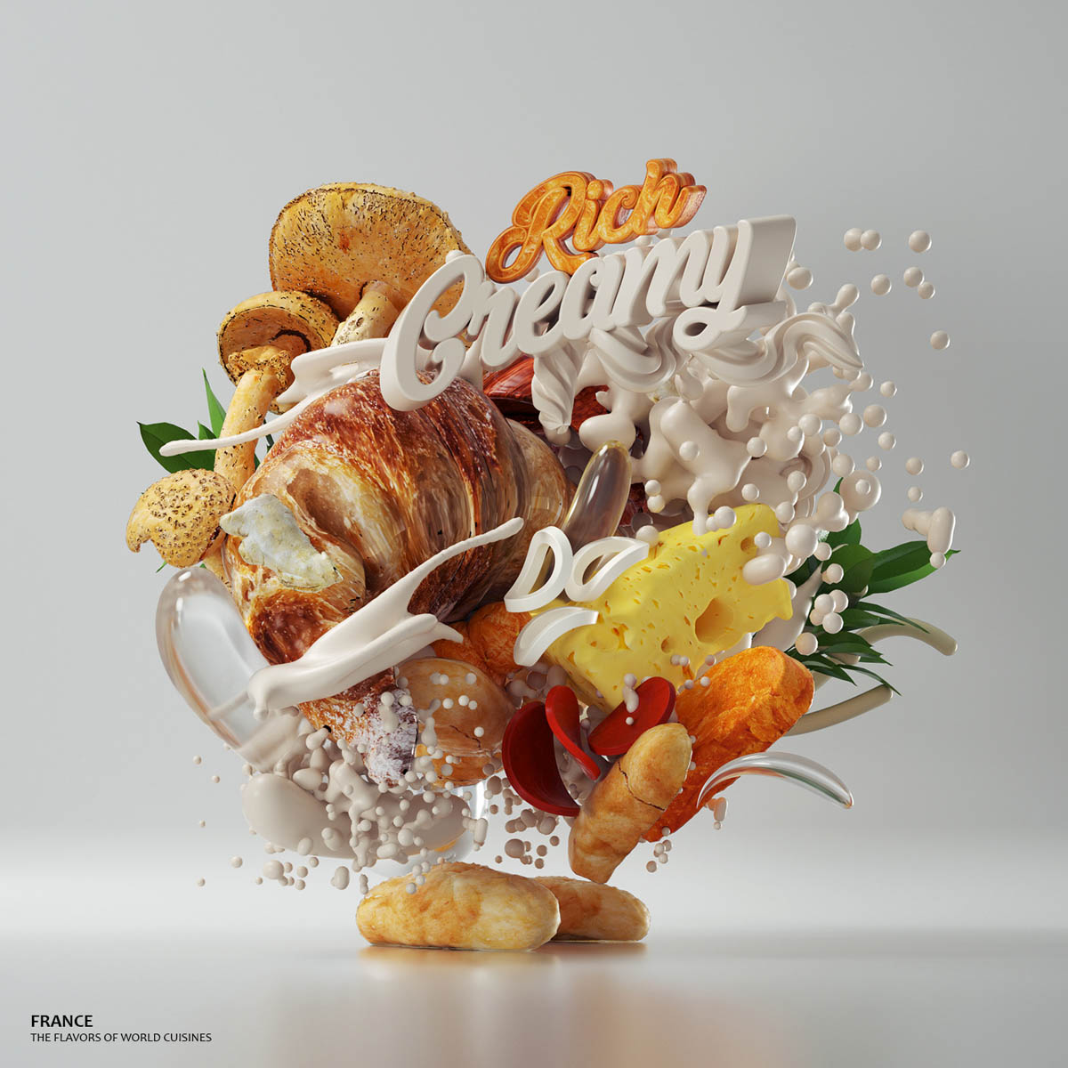 3d typography design france by omanaquil
