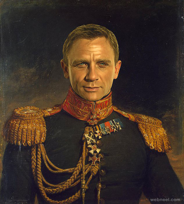 daniel craig digital painting military portraits by steve payne